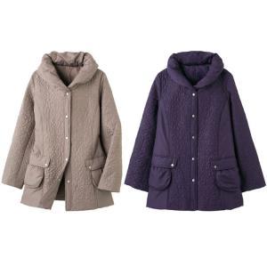 蓄熱中綿刺繍切替コート 97781 ケアファッション|pandora
