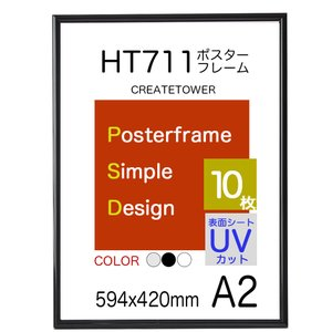 ポスターフレーム額縁HT711 A2ブラック ポスター用額縁 10枚セット UVカット表面シート panel-c