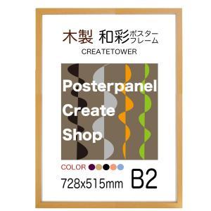 木製ポスターフレーム和彩 UVカット B2 サイズ 515x728mm|panel-c