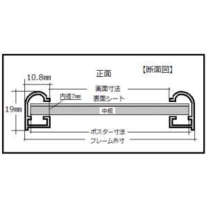 送料無料 ポスターフレームHT711 B2ブラック UVカット表面シート  ポスター用額縁|panel-c|11