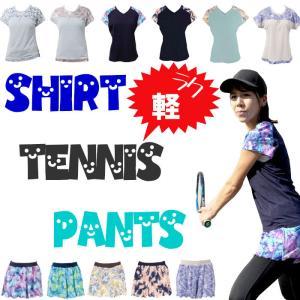 テニスウェア Tシャツ テニス トップス レディース かわいい おしゃれ プリント 柄 吸汗速乾 軽量 ストレッチ
