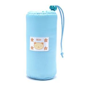 訳あり 可愛いくまのワンポイント 水色 ペットボトルホルダー ペットボトルカバー キッズ 子供 保冷 保温 絞りつき|b01|panfamcom