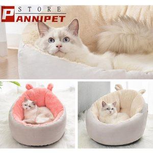 猫ベッド クッション 猫用 キャット 小型犬 冬用 ハウス あったか ペットベッド クッション ペット用寝袋 保温防寒 ドーム型 ふわふわ 暖かい S/M 送料無料|panni-fashion