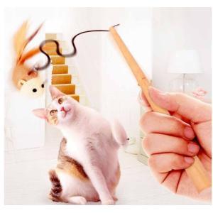 Panni 猫おもちゃ,ペット用品鈴 ねずみ羽 木製品釣り竿ストレッチロープ  2個|panni123