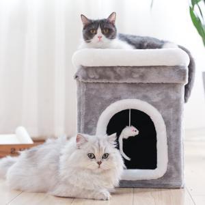 キャット ハウス クッション  ペット用ソファー 2階 猫ベッド ボックスハウス 寝床 ペットベッド ソフトケージ 冬用 暖かい ぐっすり眠れる 冬寒さ対策 ふわふわ panni123