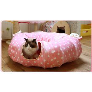 猫 トンネル 猫 ハウス 遊び場 ドーム型 ベッド猫 じゃらし付き 折り畳み可 進化版 春夏タイプ 4色登場 panni123