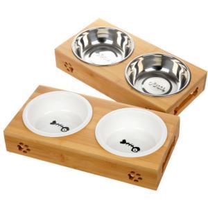 Panni 猫 食器 スタンド 陶器 ステンレス 犬猫用フード 水 ボウル
