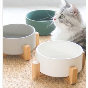 Panni ペット ボウル 猫 食器 陶器 大容量850ML ウォーター ボウル  餌入れ 水入れ フードボウル 木製 ペット皿 滑り止め 安定感 取り外し可能 手入れ簡単