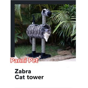 キャットタワー 猫タワー 猫 サイザル 豪華なとまり木 トンネル 登り降りしやすい 動物型 猫タワー 家具 爪とぎ 頑丈耐久 シマウマ) Panni 送料無料|panni123