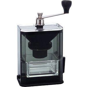 ハリオ クリアコーヒーグラインダーは、本体横のレバーを倒すことで吸盤が作動し、机に固定できるコーヒー...