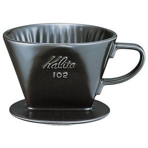 カリタ陶器製 コーヒー ドリッパー 102ロト(3〜4人用)(ブラック) paocoffee