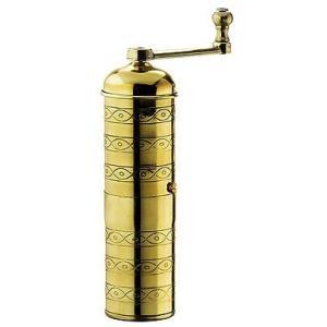 ザッセンハウス ・コーヒーミル ハバナは、小型の細長いコーヒーミル。持ち運びに便利。全身真鍮の金色ボ...