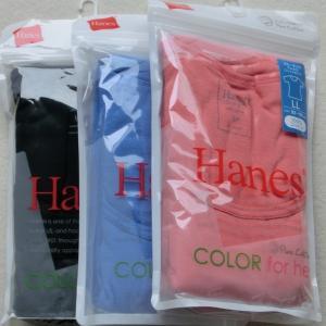 HanesクルーネックTシャツ3枚セット HW1-101 【LL】 1417い (090)ブラック (356)スカイブルー (925)サーモンピンク|paostore