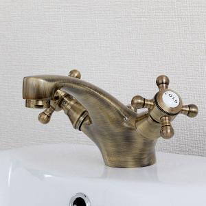 2PCMA 混合栓 洗面所用 JODEN クロスバードCH(アンティークブラス) レトロクラシック調 ジョーデン水栓金具|papasalada