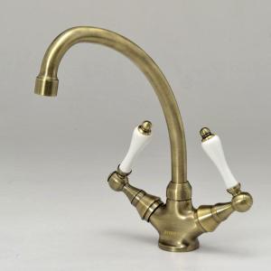 2PLVA 混合栓 キッチン用 キッチンスタンダードレバーCL(アンティークブラス) JODEN クラシック調水栓|papasalada