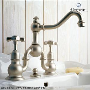 Herbeau/エルボ3003 Royale(ロワイヤル/ブライトニッケル)2ホール混合栓  おしゃれ クロスハンドル 蛇口 洗面 手洗い|papasalada|05