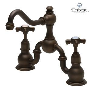 Herbeau/エルボ3003 Royale(ロワイヤル/オールドブラス)2ホール混合栓  おしゃれ クロスハンドル 蛇口 洗面 手洗い papasalada