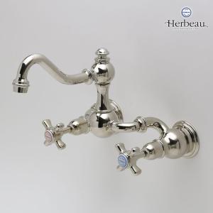 Herbeau/エルボ3004 Royale(ロワイヤル/ブライトニッケル)2ハンドル壁付混合栓  おしゃれ クロスハンドル 蛇口 洗面 手洗い|papasalada|02