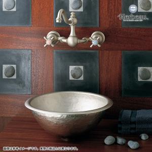 Herbeau/エルボ3004 Royale(ロワイヤル/ブライトニッケル)2ハンドル壁付混合栓  おしゃれ クロスハンドル 蛇口 洗面 手洗い|papasalada|05