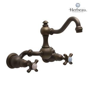 Herbeau/エルボ3004 Royale(ロワイヤル/オールドブラス)2ハンドル壁付混合栓  おしゃれ クロスハンドル 蛇口 洗面 手洗い papasalada