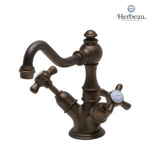 Herbeau/エルボ3005 Royale(ロワイヤル/オールドブラス)ワンホール混合栓 カントリー風 おしゃれ クロスハンドル 蛇口 洗面 手洗い papasalada