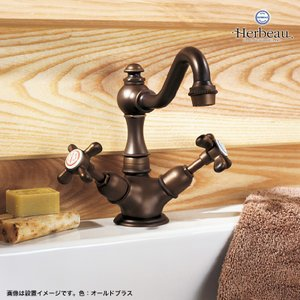 Herbeau/エルボ3005 Royale(ロワイヤル/オールドブラス)ワンホール混合栓 カントリー風 おしゃれ クロスハンドル 蛇口 洗面 手洗い papasalada 05