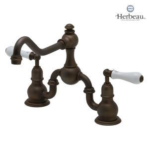 Herbeau/エルボ3022 Royale(ロワイヤル/オールドブラス)2ホール混合栓 おしゃれ レバーハンドル 蛇口 キッチン papasalada