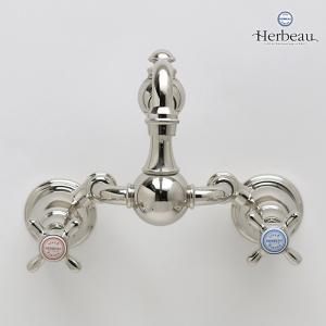 Herbeau/エルボ3023 Royale(ロワイヤル/ブライトニッケル)2ハンドル壁付混合栓 おしゃれ クロスハンドル 蛇口 キッチン papasalada 03