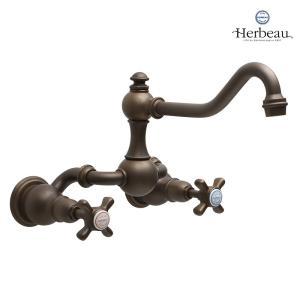 Herbeau/エルボ3023 Royale(ロワイヤル/オールドブラス)2ハンドル壁付混合栓 おしゃれ クロスハンドル 蛇口 キッチン papasalada
