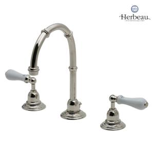 Herbeau/エルボ3202 Royale(ロワイヤル/ブライトニッケル)8インチ混合栓  おしゃれ レバーハンドル 蛇口 洗面 手洗い papasalada
