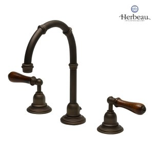 Herbeau/エルボ3202 Royale(ロワイヤル/オールドブラス)8インチ混合栓  おしゃれ レバーハンドル 蛇口 洗面 手洗い papasalada
