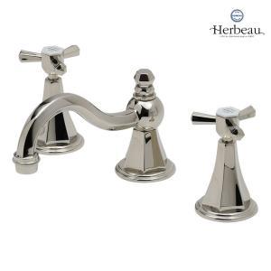 Herbeau/エルボ3602 Monarque(モナーク/ブライトニッケル)8インチ混合栓  おしゃれ クロスハンドル 蛇口 洗面 手洗い|papasalada