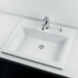 角型半埋洗面器B(水栓直付・カウンターポップアップ付)|papasalada