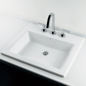 角型半埋洗面器B(水栓直付3穴タイプ) 国産メーカー洗面ボウル|papasalada