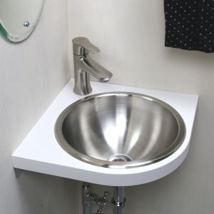 埋込手洗器用コーナーカウンター(ホワイト) WHITE おしゃれ コンパクトな白の天板|papasalada|03