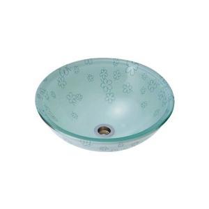 A-116 ガラス洗面ボウル ガラス製 手洗器 AQUA 蒼い花(Sサイズ) おしゃれ ガラスボウル|papasalada