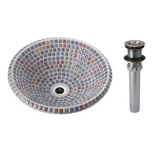 A-217 モザイクタイル洗面ボウル アズーロ(Sサイズ・排水金具付) トイレ 洗面所 おしゃれ 手洗器 美濃焼 磁器製|papasalada
