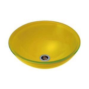 A-31 ガラス製洗面ボウル ガラス製 手洗器 AQUA イエロー(Lサイズ) おしゃれ ガラスボウル|papasalada