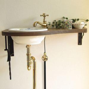 蛇口 洗面ボウル おしゃれ セット 天板 給排水部材一式 (床給水・床排水) Matildaサブリナ(ブラス) Essence 北欧 ナチュラル 小型|papasalada