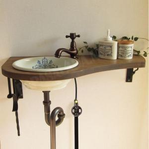 蛇口 洗面ボウル おしゃれ セット 天板 給排水部材一式 (床給水・床排水) アンティーク調水栓 Matilda サブリナ(ブロンズ) Essence 小型手洗器|papasalada