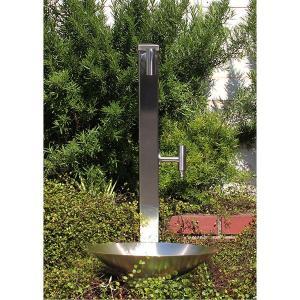 fusion ステンレス・ガーデン水栓(ロング・ショート) ステンレス角型水栓柱(分水孔付き) ステンレス水鉢セット ホースワンタッチニップル付属|papasalada