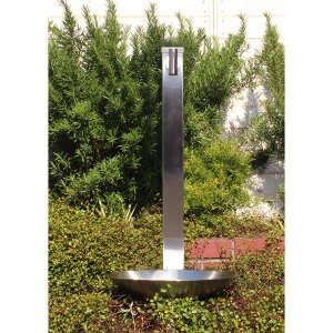 fusion ステンレス・ガーデン水栓(ロング) ステンレス水栓柱(角型 60角H900mm) ステンレス水鉢セット 便利なホースワンタッチニップル付属|papasalada