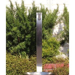 fusion ステンレス・ガーデン水栓(ロング) ステンレス水栓柱(角型 60角H900) セット 便利なホースワンタッチニップル付属|papasalada