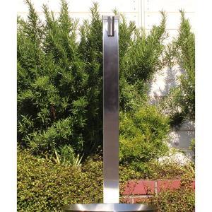 fusion ステンレス・ガーデン水栓(ロング) ステンレス水栓柱(丸型) セット 便利なホースワンタッチニップル付属|papasalada