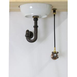 単水栓用 給水金具・排水部材Aセット(壁給水・壁排水25ミリ規格・ブロンズ) Pトラップ アングル止水栓 給水ホース|papasalada