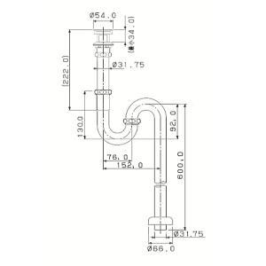 横穴付きSトラップ32(クロム) 洗面ボウル用の排水金具|papasalada|02