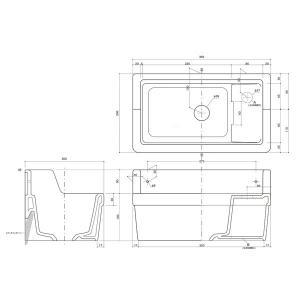 壁掛 小型 手洗器 Sレクタングル 立水栓用 ブランカ|papasalada|03