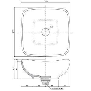小型 手洗器 陶器 エッセンス Sスクエア シトラス papasalada 05