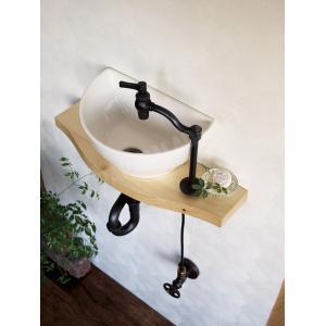 小型 手洗器 陶器 エッセンス クレセント 灰白 はいじろ papasalada 04