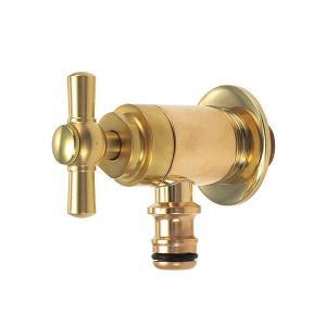 G102-IB 蛇口 ガーデン ホース接続 レバー水栓 (ブラス) 立水栓用ホース栓 おしゃれ蛇口 屋外用|papasalada